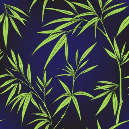 Modèle sans couture avec des feuilles de bambou et des branches en sty japonais Banque d'images - 86201418