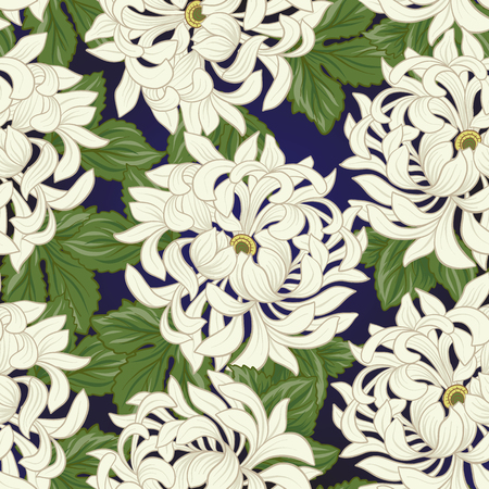 Seamless pattern with white chrysanthemum in Japanese style. Vec