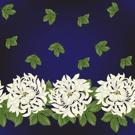 Seamless avec chrysanthème blanc dans le style japonais . vec Banque d'images - 86201423