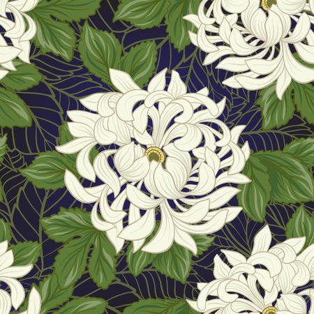 일본 스타일에 흰 국화와 원활한 패턴입니다. 벡