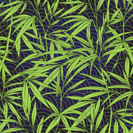 Seamless pattern with bamboo leaves and branches in Japanese sty