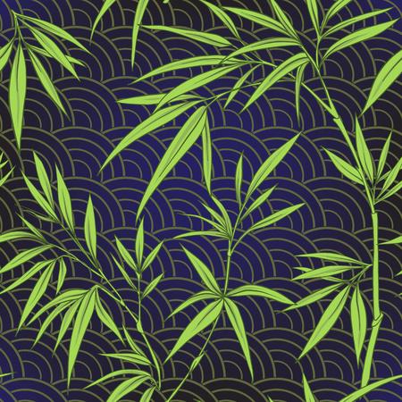Modèle sans couture avec des feuilles de bambou et des branches en sty japonais Banque d'images - 86201426