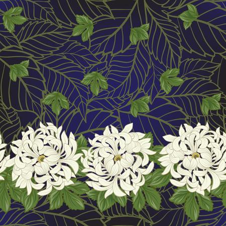 Seamless avec chrysanthème blanc dans le style japonais . vec Banque d'images - 86201429