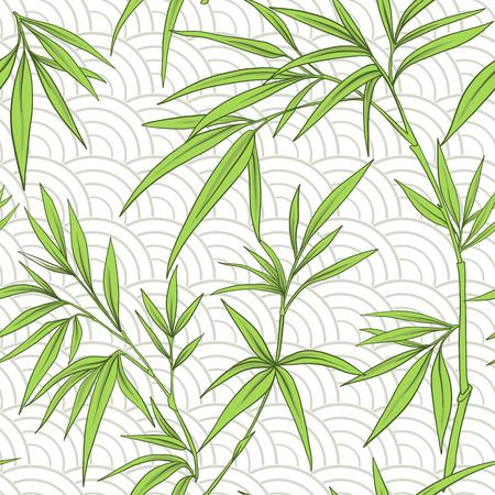 Modèle sans couture avec des feuilles de bambou et des branches en sty japonais Banque d'images - 86201431