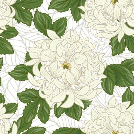 Seamless avec chrysanthème blanc dans le style japonais . vec Banque d'images - 86201433
