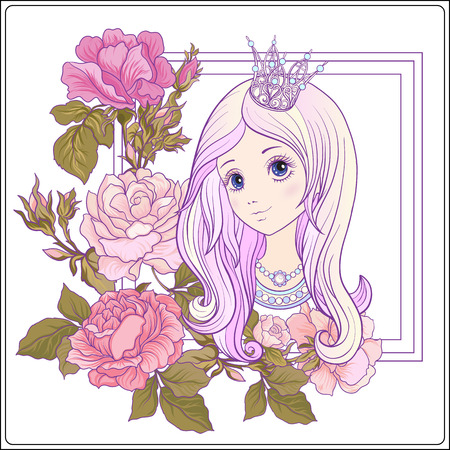 Young nice girl with long hear with princess crown in the garden Illustration
