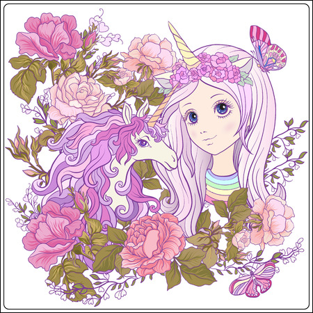 Girl and unicorn with multi-colored curly mane in roses garden. Illustration
