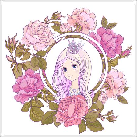 Het jonge aardige meisje met lang hoort met prinseskroon in de tuin Stock Illustratie
