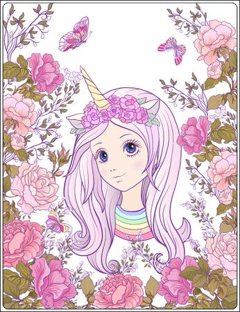 Jong mooi meisje in een pet met een eenhoornhoorn in de tuin van ro Stock Illustratie