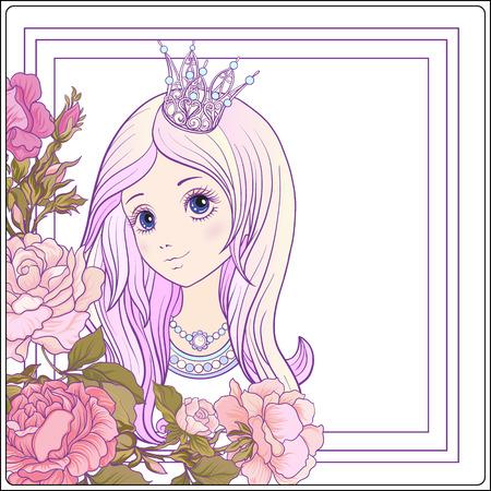 Jeune fille sympa avec longue entendre avec la couronne de princesse dans le jardin