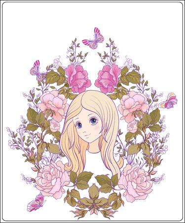 Het jonge aardige meisje met lang hoort in de tuin van rozen. Goed voor Stock Illustratie