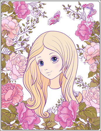 Young nice girl with long hear in the garden of roses. Good for Illustration