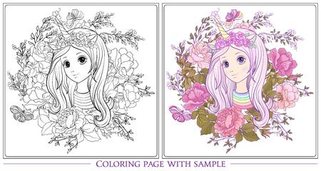 오래 좋은 젊은 여자 유니콘 경적 모자에서 정원에서 오래 듣고 색칠 된 샘플 색칠 공부 페이지 개요입니다. 성인용 색칠하기 책. 주식 벡터입니다.