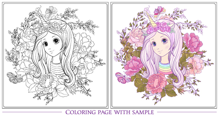Young nice girl with long hear in unicorn horn hat the garden of roses Outline drawing coloring page with colored sample. Coloring book for adult. Stock vector.