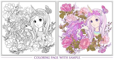 유니콘 및 젊은 좋은 여자 유니콘 뿔에서 오래 듣고 모자 장미 정원. 색칠 된 샘플로 윤곽 그리기 색칠 공부 페이지. 성인용 색칠하기 책. 주식 벡터입