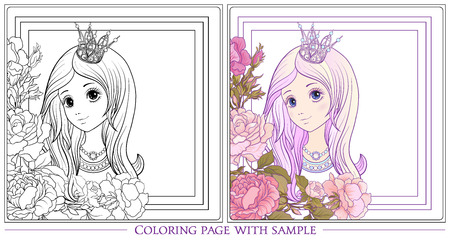 Young nice girl with long hear with princess crown in the garden of roses with colored sample. Outline drawing coloring page Coloring book for adult. Stock vector.