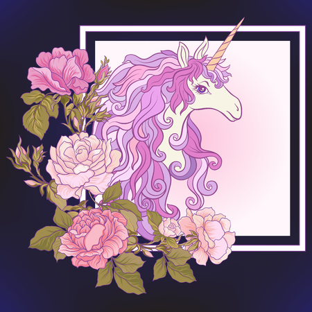 The unicorn, a bouquet of roses and butterflies on black background. Composition for a card, poster, banner. Stock vector.
