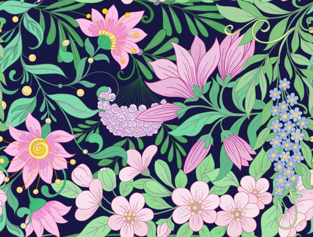 Seamless pattern, background with spring flowers magnolia, sakura, lilac, viburnum Vector illustration
