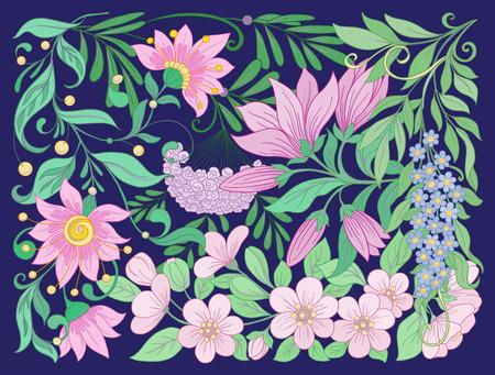 花の組成物。春の花。株式ベクトル図