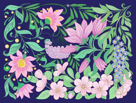Floral composition. Spring flowers. Stock vector illustration