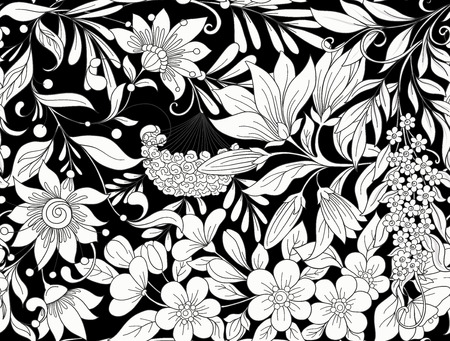 Seamless pattern, background with spring flowers magnolia, sakura, lilac, viburnum in black and white colors. Ilustracja