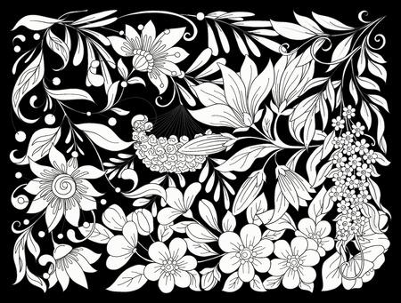 花のコンポジション。春の花。ベクターイラスト。