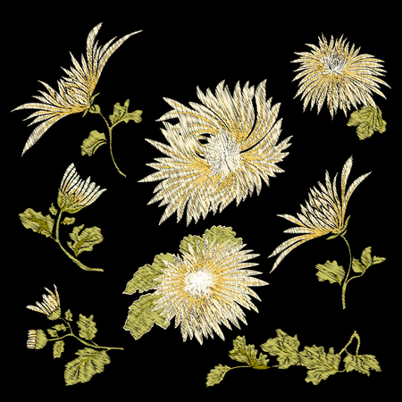 hand print: Embroidery. Embroidered design elements with chrysanthemum flower.