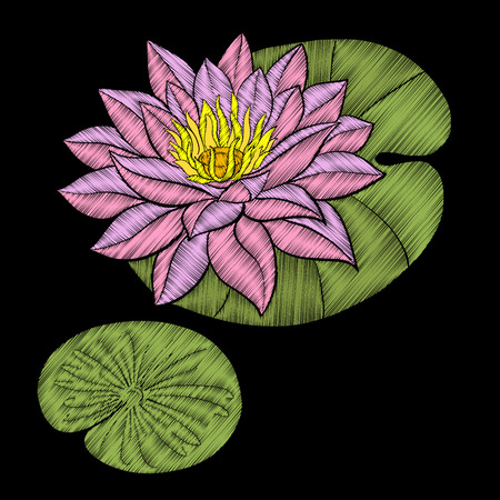 Embroidery. Embroidered design elements with lotus flowers. Illustration