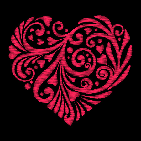 Embroidery. Embroidered design elements Love heart with flowers Banco de Imagens - 86220253