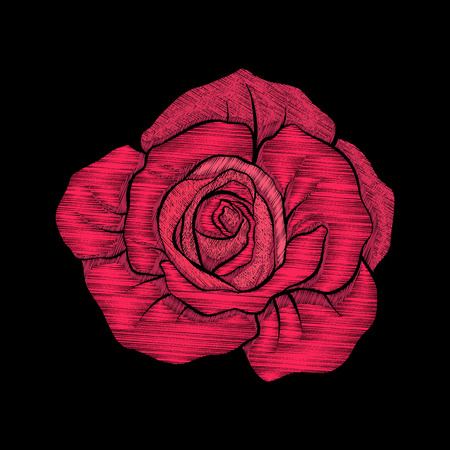 Embroidery. Embroidered design elements red rose in vintage style