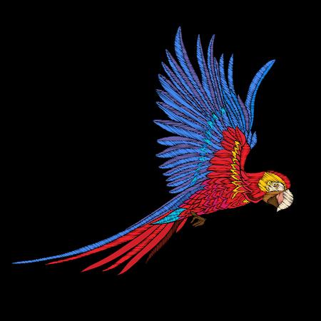 刺繍。ビンテージ スタイルの鳥の刺繍デザイン要素。  イラスト・ベクター素材