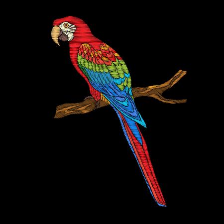 刺繍。ヴィンテージスタイルの刺繍デザイン要素鳥。