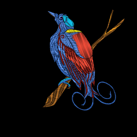 Embroidery. Embroidered design element bird in vintage style. Иллюстрация
