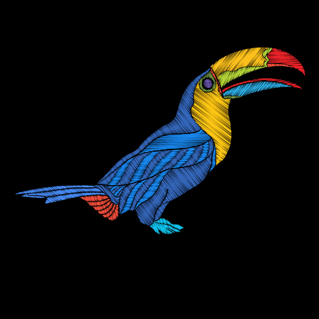 Embroidery. Embroidered design element, toucan bird in vintage style.