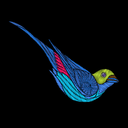 Embroidery. Embroidered design element, bird in vintage style. Illustration
