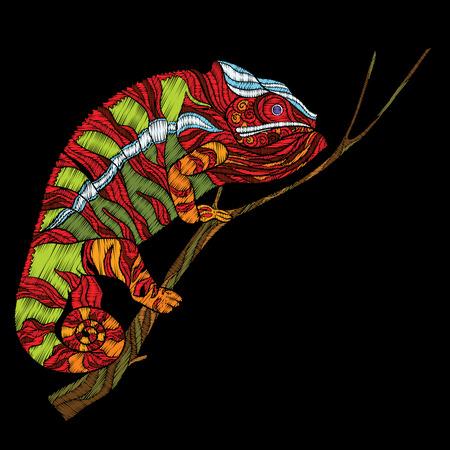 刺繍。刺繍の設計要素は、カメレオン。  イラスト・ベクター素材