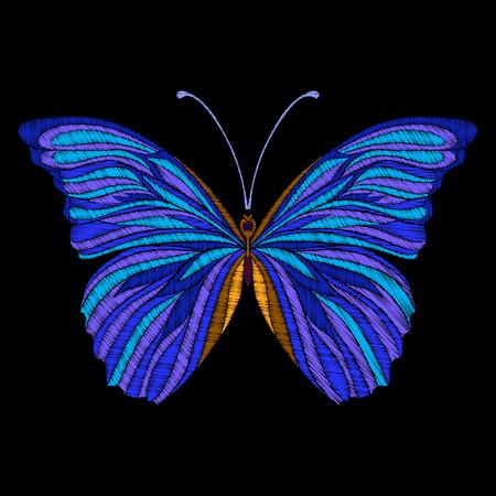 刺繍。刺繍デザイン要素の蝶。