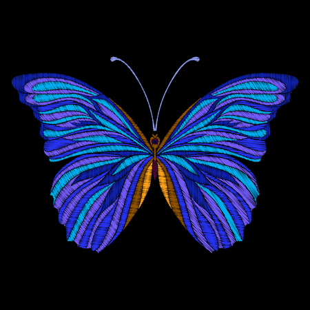 Stickerei. Gesticktes Designelement Schmetterling. Standard-Bild - 86220269