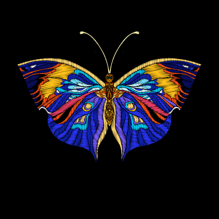 Embroidery. Embroidered design element butterfly.