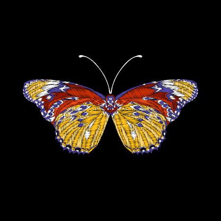 자수. 수 놓은 디자인 요소 나비. 일러스트