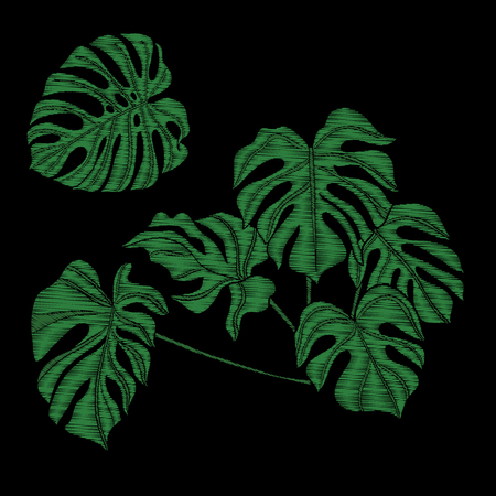 자수. 열 대 식물 수 놓은 디자인 요소입니다.