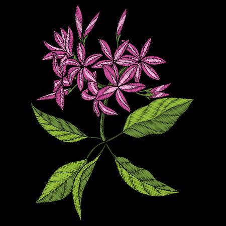 刺繍。熱帯の花の植物と刺繍デザイン要素。  イラスト・ベクター素材