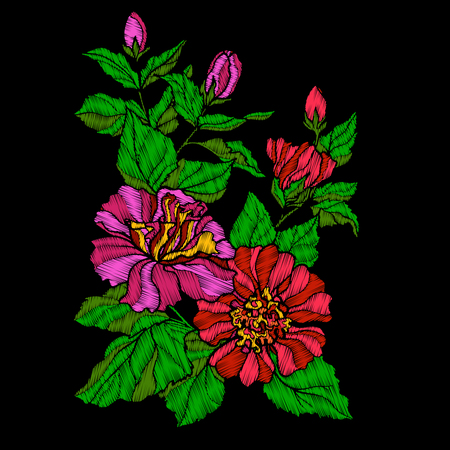 hand print: Embroidery. Embroidered design elements with tropical floral plant.