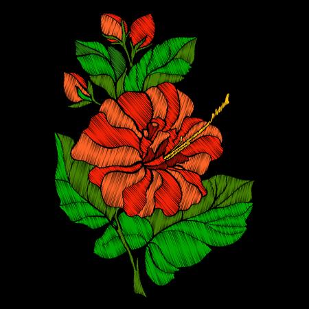 자수. 열 대 꽃 식물 수 놓은 디자인 요소입니다. 일러스트