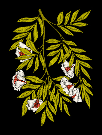 hand print: Embroidery. Embroidered design elements with flowers and leaves Illustration
