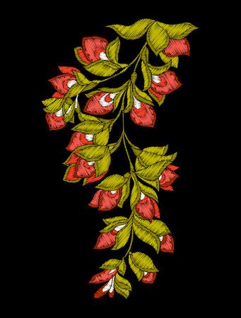刺繍。花と葉の刺繍デザイン要素
