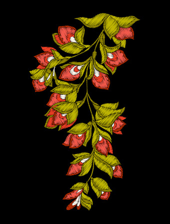 Embroidery. Embroidered design elements with flowers and leaves Illustration