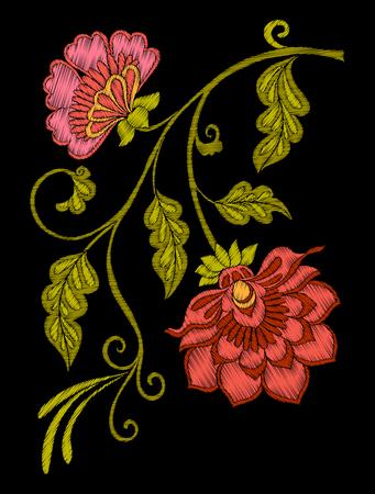 자수. 수 놓은 디자인 요소 꽃과 나뭇잎