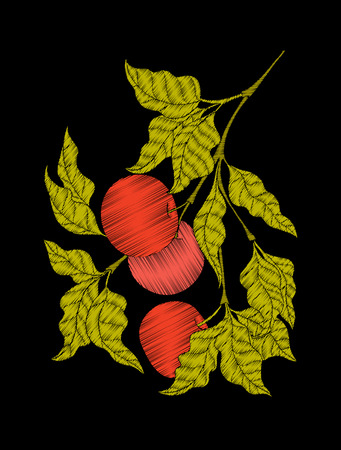 hand print: Embroidery. Embroidered design elements with apple and leaves.