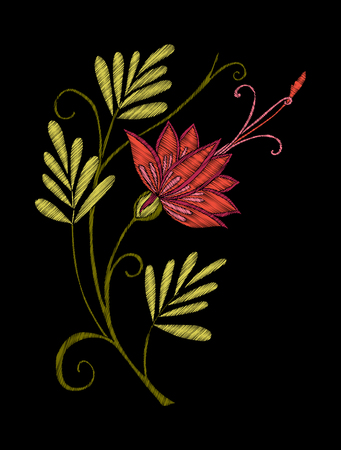 Embroidery. Embroidered design elements with flowers and leaves in vintage style on a black background. Stock vector illustration. Illustration